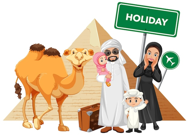 Arabische familie op vakantie Gratis Vector