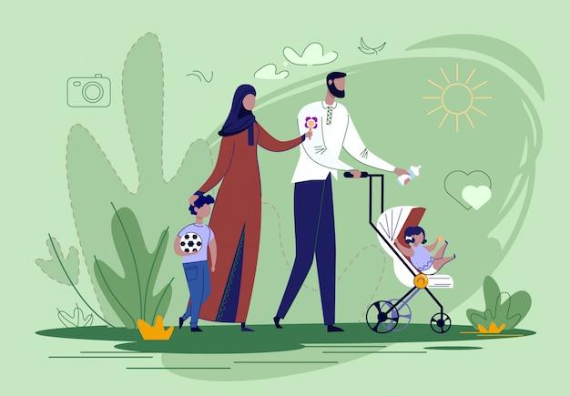 Arabische familie wandelen met kinderen in park flat. Premium Vector