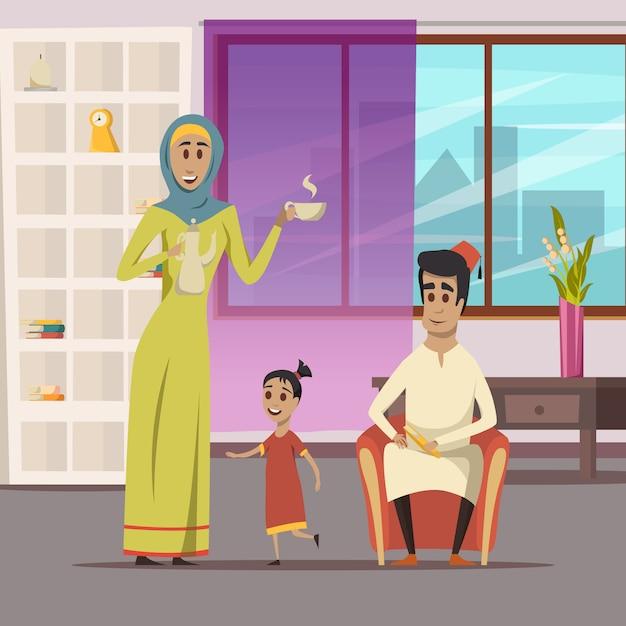 Arabische familieachtergrond Gratis Vector