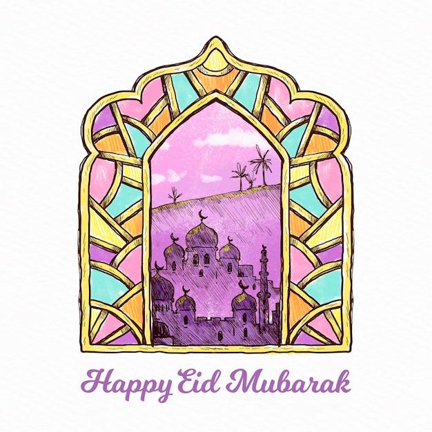 Arabische gebrandschilderd glas hand getekende eid mubarak Gratis Vector