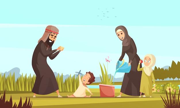 Arabische gezinsleven cartoon Gratis Vector
