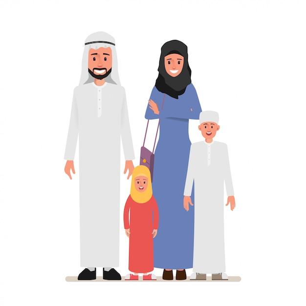 Arabische gezinsmensen karakter met ouder. Premium Vector
