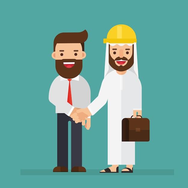 Arabische ingenieur en zakenman praten en schudt de hand Premium Vector