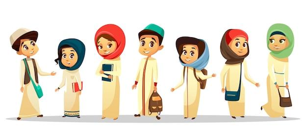 Arabische jonge tiener mannen, vrouwen student permanent met schoudertas houden boeken glimlachen. Premium Vector