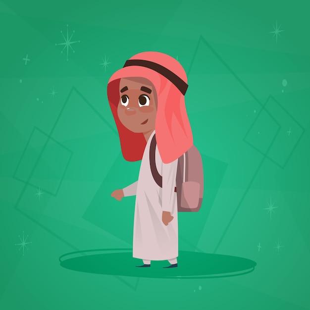 Arabische jongensschool leerling rugzak Premium Vector