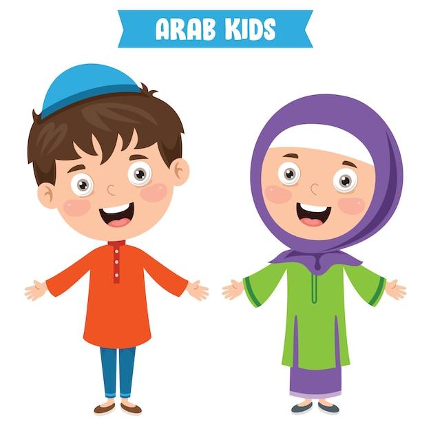 Arabische kinderen dragen traditionele kleding Premium Vector