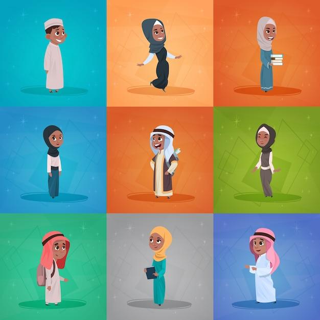 Arabische kinderen meisjes en jongens instellen Premium Vector