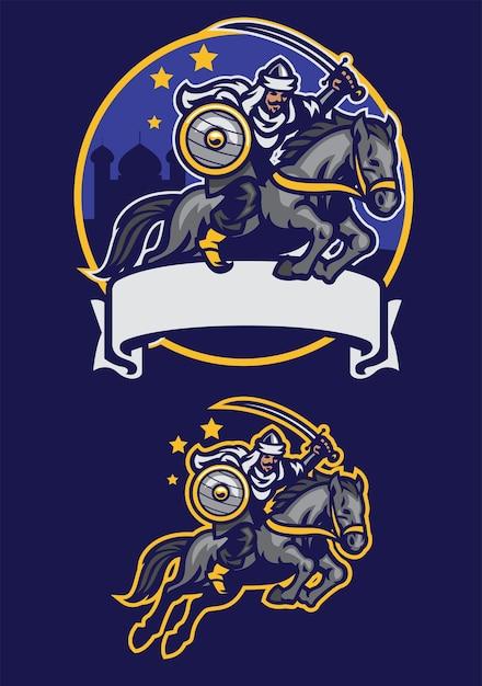 Arabische krijger rijpaard mascotte Premium Vector