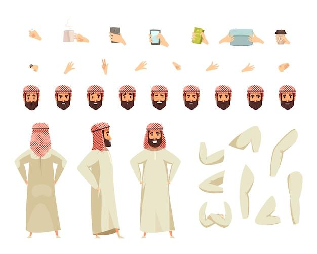 Arabische man bouwset Gratis Vector
