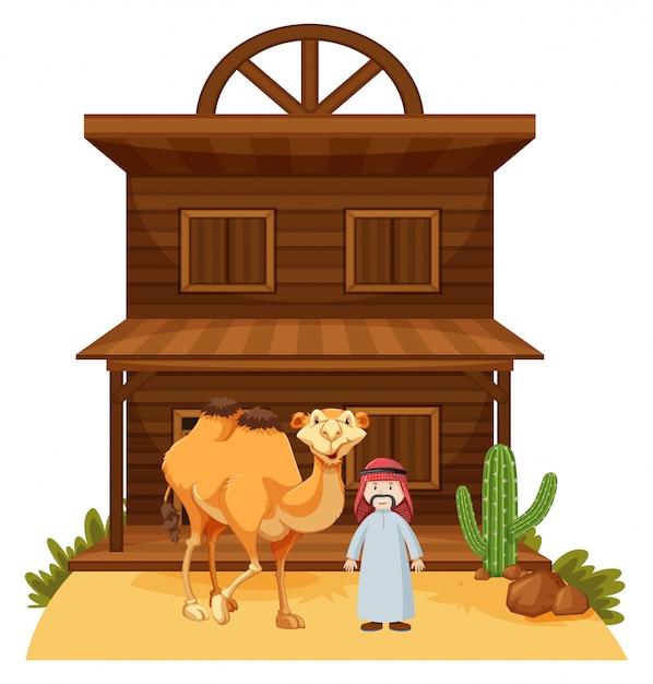 b667590babf619 Arabische man en kameel bij westerse stijl gebouw Gratis Vector