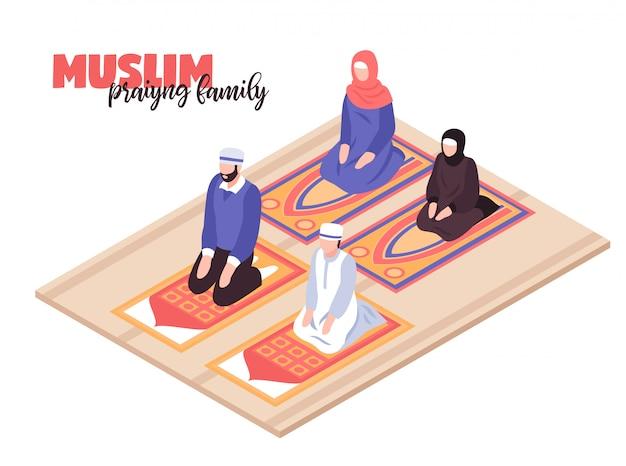 Arabische mensen bidden concept met mannen en vrouwen isometrisch bidden Gratis Vector