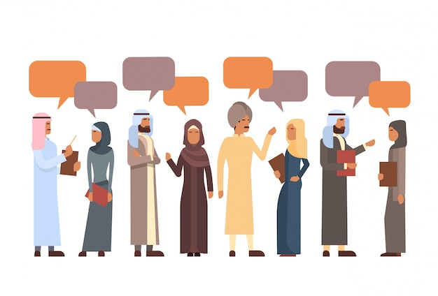 Arabische mensen groep chat bubble communicatie concept moslims praten arabisch sociaal netwerk Premium Vector