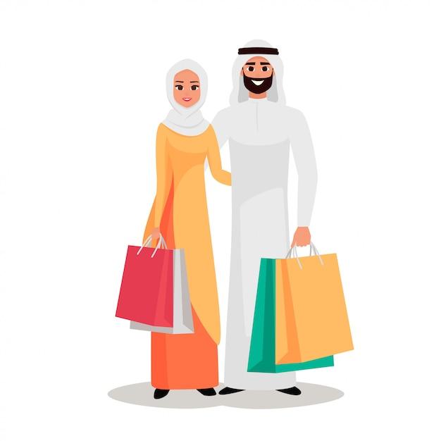 Arabische mensen met de boodschappentassen Premium Vector