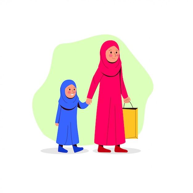 Arabische moeder en haar dochter lopen samen brengen papieren zak Premium Vector