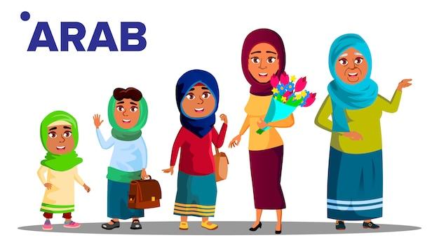 Arabische, moslimgeneratie vrouw Premium Vector