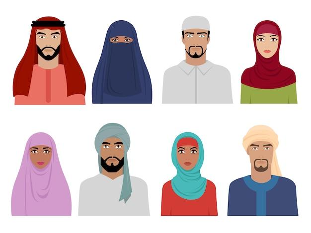 Arabische nationale kleding. islamitische iraanse turkse en arabische mode voor mannelijke en vrouwelijke hoofddoek hijab en jurken s Premium Vector