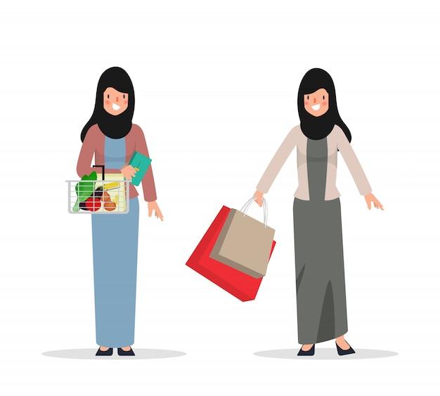 Arabische of moslimvrouw karakter om te winkelen. mensen in nationale kleding hijab. Premium Vector