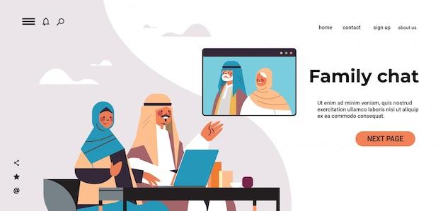 Arabische paar met virtuele ontmoeting met aribic grootouders tijdens video-oproep familiechat online communicatieconcept portret horizontale kopie ruimte illustratie Premium Vector