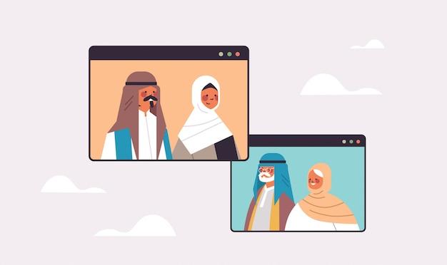 Arabische paar virtuele ontmoeting met grootouders tijdens video-oproep familiechat communicatieconcept arabische mensen chatten in webbrowser windows portret horizontale afbeelding Premium Vector