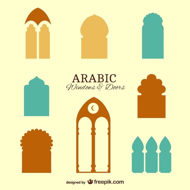 Arabische ramen en deuren Gratis Vector