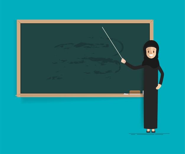 Arabische student of leraar met schoolbord. Premium Vector