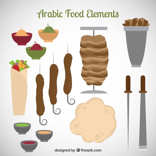 Arabische voedsel en keukengereedschap Gratis Vector