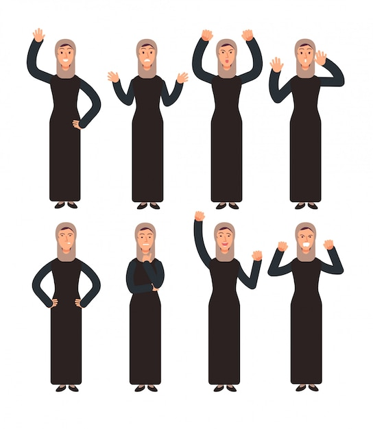 Arabische vrouw die zich met verschillende handgebaren en gezichtsemoties bevindt. vrouwelijke moslim tekenset Premium Vector