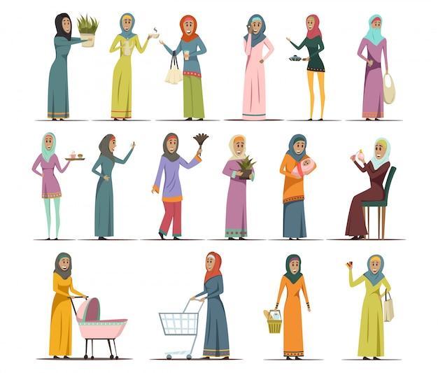 Arabische vrouw icons set Gratis Vector