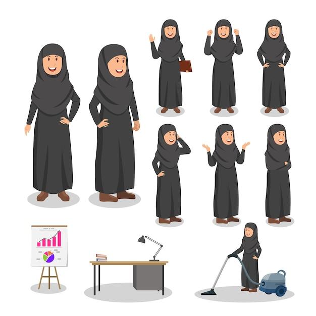 Arabische vrouw instellen karakter cartoon afbeelding Premium Vector
