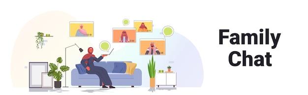 Arabische vrouw met virtuele ontmoeting met familieleden in web browservensters tijdens videogesprek online communicatieconcept woonkamer interieur horizontaal Premium Vector