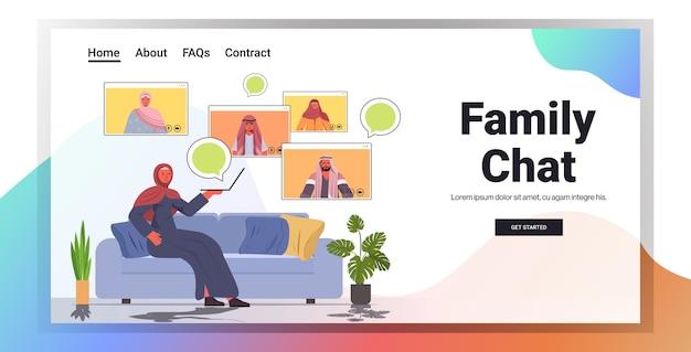 Arabische vrouw met virtuele ontmoeting met familieleden tijdens videogesprek online communicatie concept woonkamer interieur horizontale kopie ruimte Premium Vector