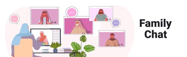Arabische vrouw met virtuele ontmoeting met familieleden tijdens videogesprek online communicatieconcept Premium Vector