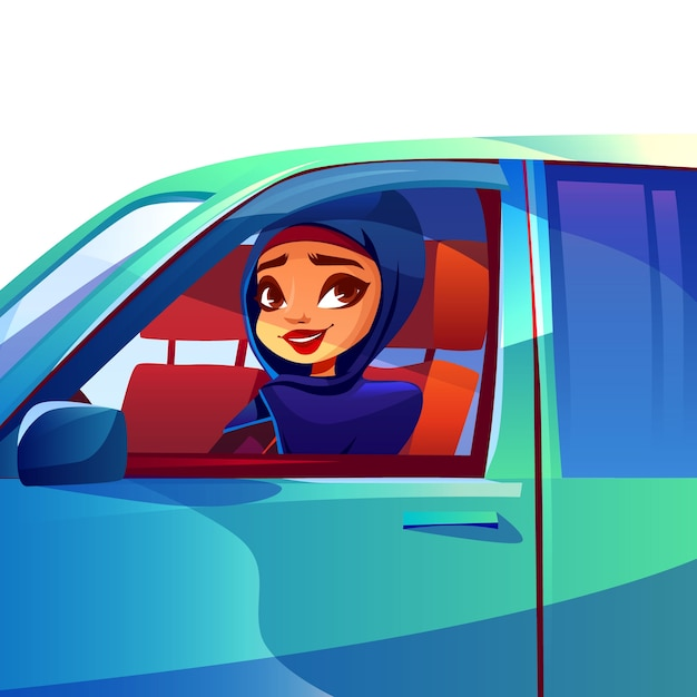 Arabische vrouw rijdende auto illustratie van moderne rijke meisje in saoedi-arabië hijab Gratis Vector