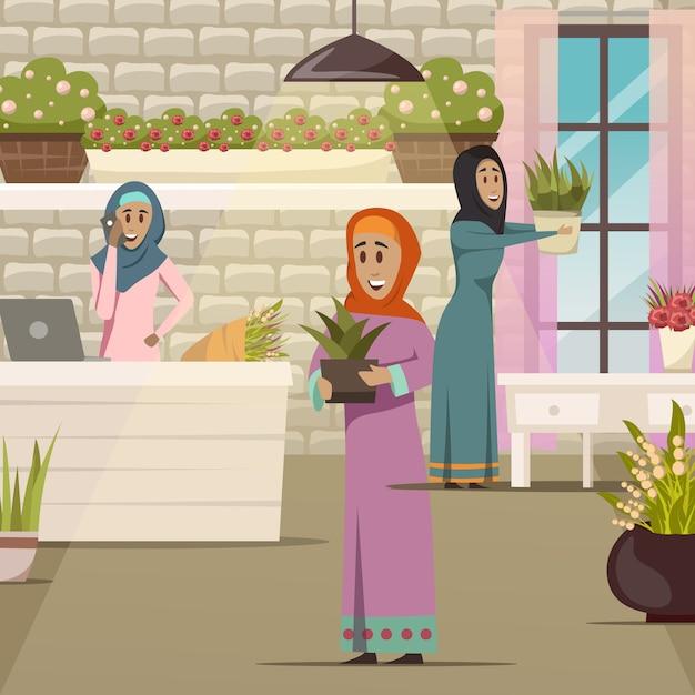 Arabische vrouwensamenstelling Gratis Vector