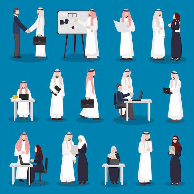 Arabische zakelijke tekens instellen Gratis Vector