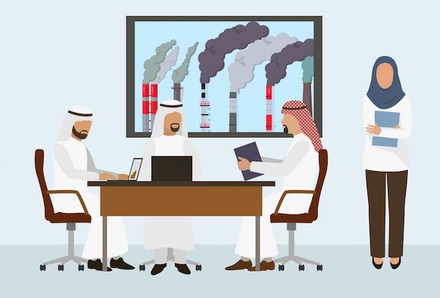 Arabische zakenlieden sjeiks ontmoeten, overeenkomst ondertekenen, deal sluiten Premium Vector