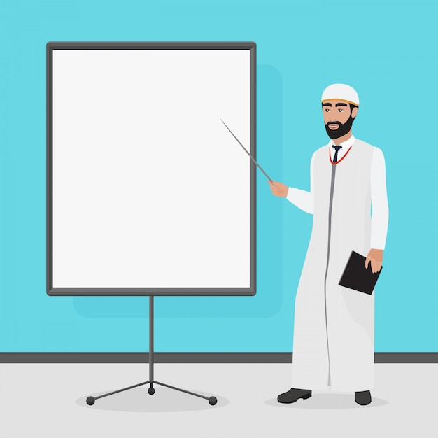 Arabische zakenman tijdens een presentatie. cartoon vectorillustratie. Premium Vector