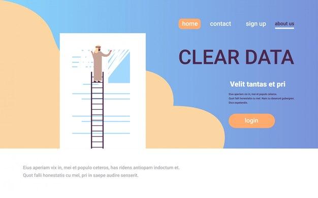 Arabische zakenman wissen informatie duidelijke gegevens banner Premium Vector