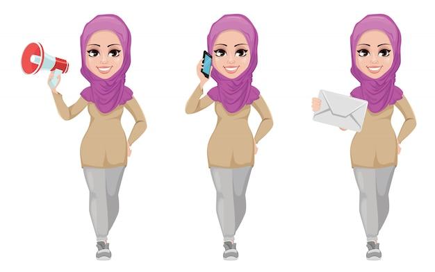 Arabische zakenvrouw, glimlachend stripfiguur Premium Vector