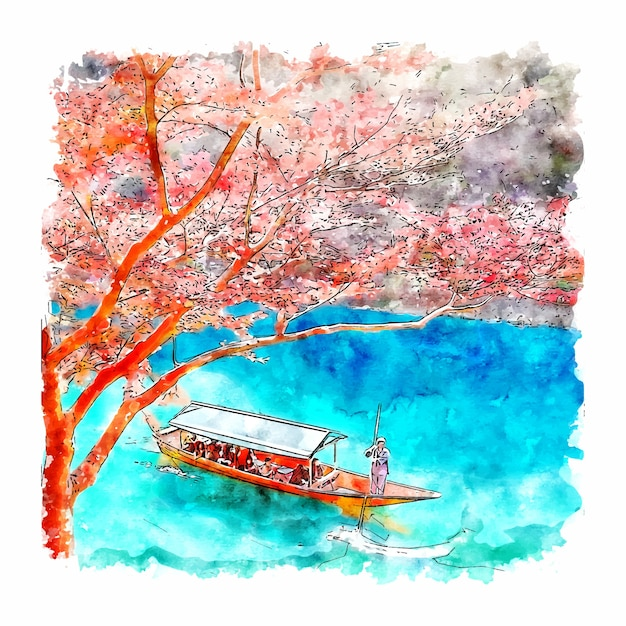 Arashiyama kyoto japan aquarel schets hand getrokken illustratie Premium Vector