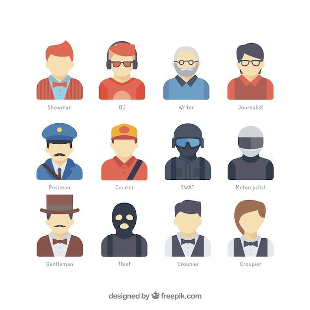 Arbeider avatar collectie Gratis Vector