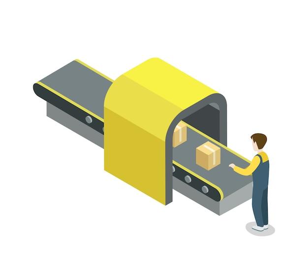 Arbeider dichtbij de isometrische illustratie van de riemproductielijn Premium Vector