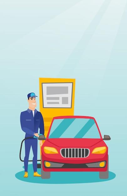 Arbeider die brandstof opvult in auto bij het benzinestation Premium Vector