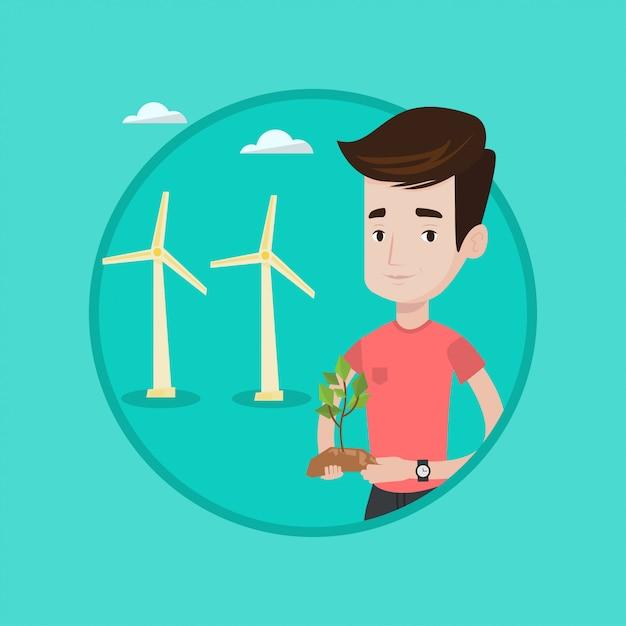 Arbeider die van windpark groene kleine installatie houden. Premium Vector