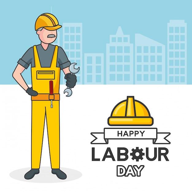 Arbeider met een moersleutel, gebouwen, illustratie Gratis Vector