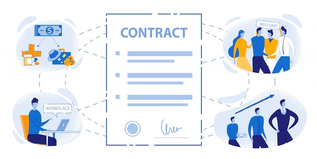 Arbeidsovereenkomst teken office werk voordelen Premium Vector