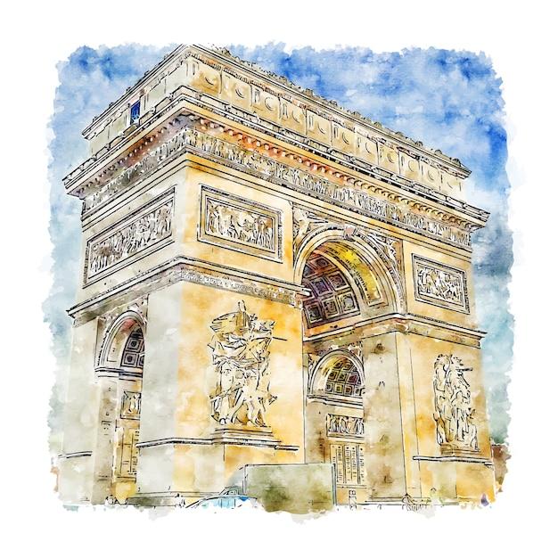Arc de triomphe paris aquarel schets hand getrokken illustratie Premium Vector