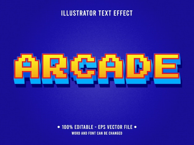Arcade bewerkbaar teksteffect klassieke retro game-stijl Premium Vector