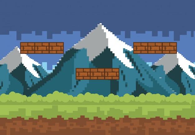 Arcade-gamewereld en pixelscène Gratis Vector