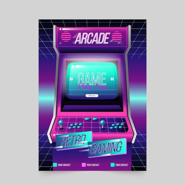 Arcade retro games poster sjabloon Gratis Vector